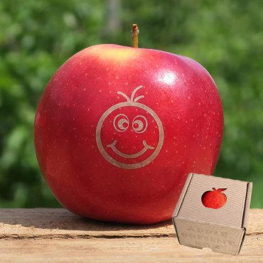 Apfel mit Branding Smilie Fred rot